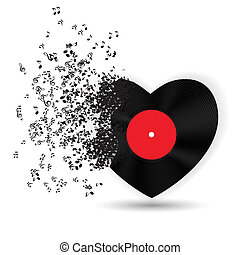 Happy Valentines Day Card with Heart, Music Notes. Vector Illustration