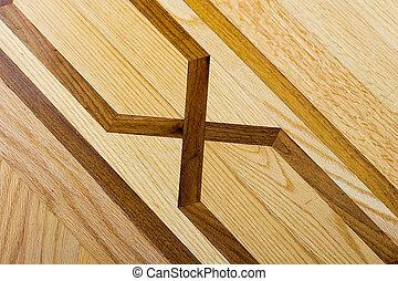Hardwood parquet floor with detailed pattern