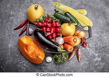 Harvest vegetables with herb kitchen garden.