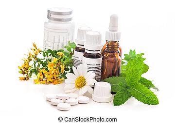 Healing herbs and medicinal bottles. Alternative medicine concept