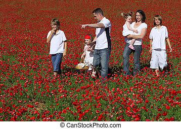 healthy happy family walking