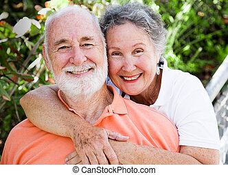 Portriat of a healthy, happy senior couple in love.