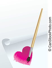 heart draw with brush vector image