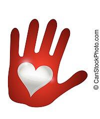 heart hand. illustration design