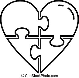 Heart jigsaw icon, outline style