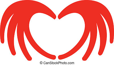 Heart made with two hands that is red for Valentine's day, an anniversary or other love holiday.