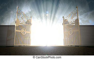 A depiction of the pearly gates of heaven open with the bright side of heaven contrasting with the duller foreground