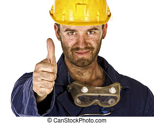 confident manual worker thumb up selective focus