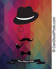 Vector Hipster Illustration on Geometric Triangle Background