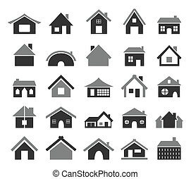 Set of icons of houses. A vector illustration