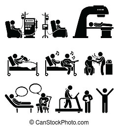 A set of human pictograms representing patient in hospital for dialysis, chemotherapy, radiation therapy, animal assisted therapy, music therapy, shock therapy, psychology consulting, and physiotherapy.