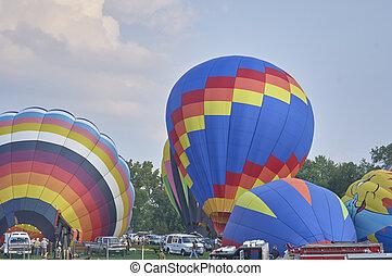 Hot air Balloons inflatiing