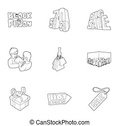 Hot price icons set, outline style