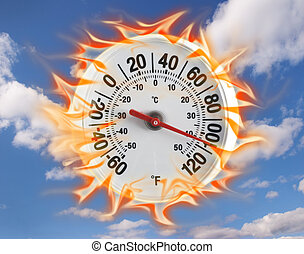 Thermometer on fire with a blue sky background