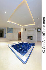 Hot tub inside luxury interior