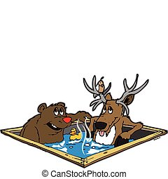 bear and a deer sitting in a hot tub