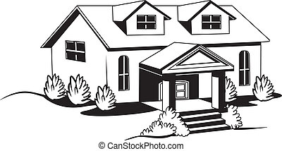 Black and white house with bushes and lawn