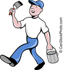 illustration of a House painter with paintbrush and holding a paint can walking isolated on white done in cartoon style