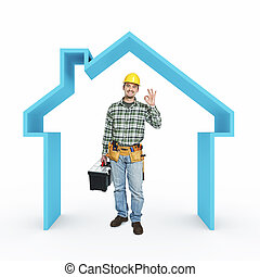 smiling handyman and 3d house