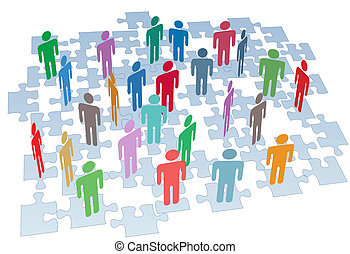 Human resources people connect on puzzle pieces company network