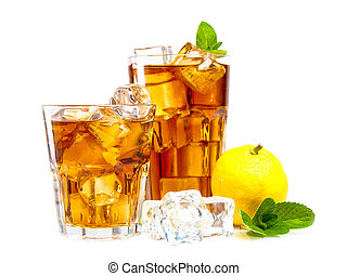 Lemon and mint ice tea isolated on white