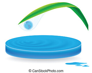 water waves with drop with planet inside