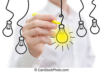 Idea light bulb word sketched on a white board