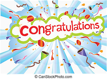 illustration congratulations wording and celebration symbol
