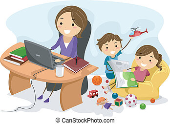 Illustration Featuring a Working Mom