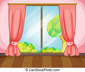 illustration of a window and pink curtains