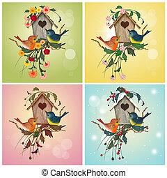 bird house in the four season