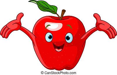 Illustration of Cheerful Cartoon Apple character
