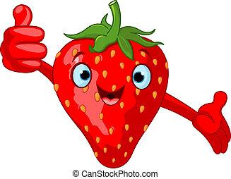 Illustration of Cheerful Cartoon Strawberry character