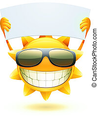 illustration of cool cartoon happy summer sun in sunglasses with blank banner