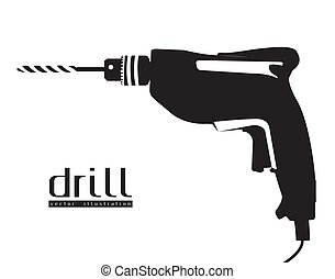 Illustration of silhouette of a drill isolated on white background, vector illustration