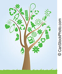 tree with ecology symbols