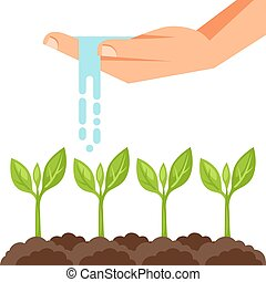 Illustration of watering plants from hand. Image for advertising booklets, banners, flayers and articles