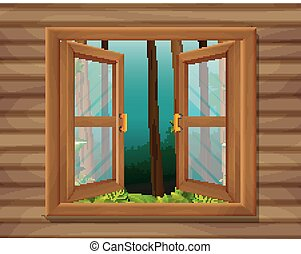 window to nature scene
