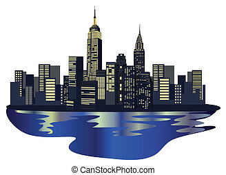 Illustration with New York Skyscrapers