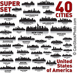 Incredible city skyline set. 40 city silhouettes of United States of America
