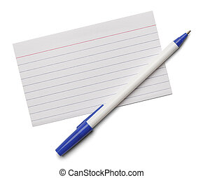 Blank note index card with blue pen isolated on a white background.