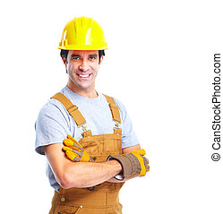 Industrial worker with yellow helmet. Isolated on white background.