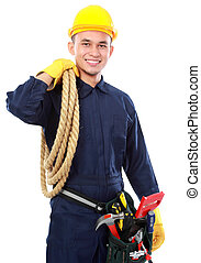 portrait of worker use blue uniform and belt tolls hold rope