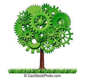 Economy industry business concept as a tree made of gears as a symbol of growth and future prosperity on a white background.