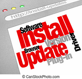 Install Update words on a website screen to illustrate software download patches and new versions of browsers or plug-ins you need to get to keep your computer upd-to-date