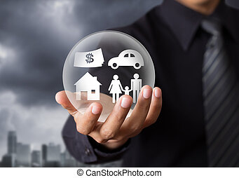 insurance in crystal ball, Life insurance concept