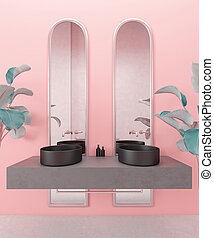 Interior bathroom design, luxurious modern and elegant bathroom, elegant double black sink with mirror in pink wall with tropic plants, 3D illustration