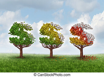 Investment loss and financial stress business concept with three trees shaped as a dollar or money symbol gradually losing leaves in an autumn theme from green to red as an idea for aging savings crisis needing a new strategy.