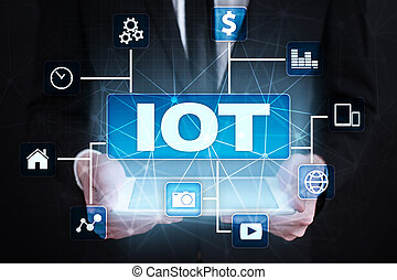 IOT. Internet of Thing concept. Multichannel online communication network