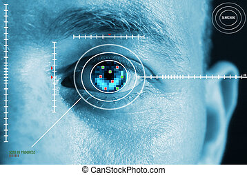 iris scan for security or identification. Eye with scanner and computer interface